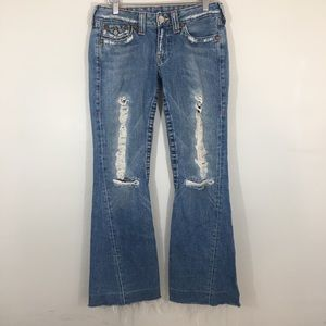 True religion woman's size 28 Destroyed Flare Jean